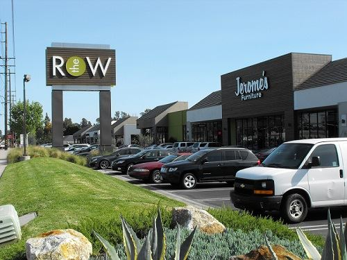 The Row shopping center sign and parking lot