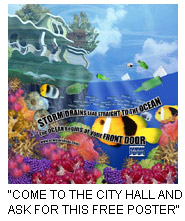 Free poster of fish and plants under the water with a house in the top left corner of the poster