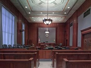 Photo of benches inside a law room