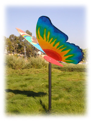 Rainbow butterfly sculpture